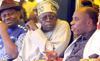 R-L Governor Rotimi Amaechi of Rivers State; Asiwaju Bola Tinubu Former Governor of Lagos State/APC Leader and Engr Tele Ikuru, Rivers State Deputy Governor  yesterday at the Rivers State Government House during a visit of the APC Leadership to Rivers State. Photo: Nwankpa Chijioke
