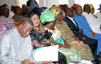 From left: President Goodluck Jonathan; his wife, Patience; mother of the President, Mrs Eunice Jonathan; wife of the Senate President, Mrs Helen Mark; Senate President David Mark; Deputy Speaker, House of Representatives, Emeka Ihedioha; Sen. Hope Uzodimma; Sen. Philip Aduda; and the Chief of Staff, Chief Mike Ighiadomhe during a Memorial Service for the Late Nelson Mandela at Aso Villa Chapel, Presidential Villa, Abuja, yesterday.