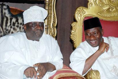 Jonathan with the Oba of Lagos, Oba Rilwan Akiolu, during the President's visit to Oba in Lagos yesterday.