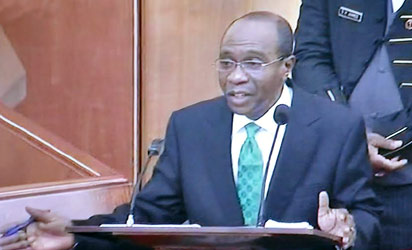 Mr Godwin Emefiele answering questions  during his screening by the Senate for  Central Bank Governorship in Abuja on Wednesday