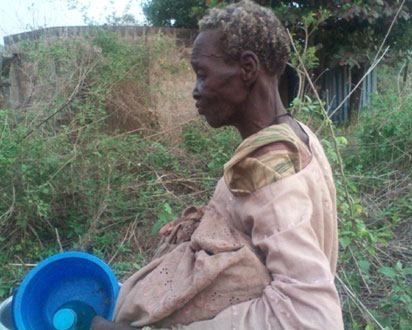 One of the rescued victims believed to have been bewitched and bound with fetters in a dungeon, in Soka, Oluyole local government area of Oyo State.