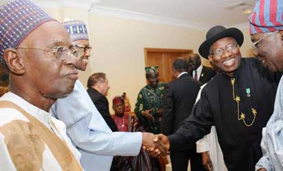 From Left: Former President, Alhaji Shehu Shagari; former Head of State, Gen. Muhammadu Buhari; President Goodluck Jonathan and former Head of Interim National Government, Chief Ernest Shonekan, at the Centenary Dinner and Awards in Abuja on Friday (28/2/14). NAN