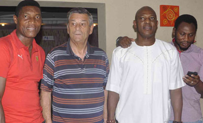 FROM LEFT: Peter Rufai, former  Super Eagles goal keeper; former Super Eagles coach, Clemens Westerhof; cSuper Eagles Coach,Stephen Keshi and his assistant, Daniel Amocahi. Photo:  AKEEM SALAU.