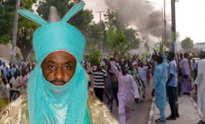 File photo of The newEmir of Kano and the protesters, yesterday.