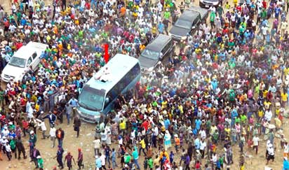 *Aregbesola arriving for the Iwo campaign