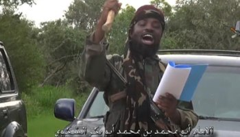Shekau in the video released to AFP. Photo: AFP.