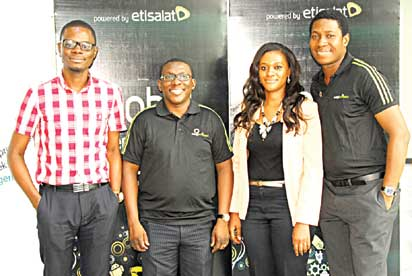 From left: Winner, Etisalat EasyBusiness Millionaires Hunt, Yomi Ojo; Head, Business market Segment, Etisalat Nigeria, Bidemi Ladipo; Winner, Etisalat EasyBusiness Millionaires Hunt, Idongesit Umoh and Specialist, SME segment, Etisalat Nigeria, Olufemi Oguntimehin, at the Youth Entrepreneurship Dialogue, part of the Global Entrepreneurship Week, at the Enterprise Development Centre, Pan- Atlantic University, Ajah, held last Month in  Lagos.
