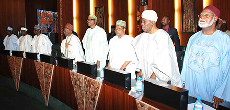 From left, former Heads of State — Chief Ernest Sonekan, General Ibrahim Babangida, General Muhammadu Buhari, Alhaji Shehu Shagari, General Yakubu Gowon, Alhaji Aminu Tambuwal, Speaker, House of Representatives, and Senate President, David Mark during the National Council of State meeting held at the State House, Abuja, yesterday. Inset: From left: President Goodluck Jonathan, Shagari and Babangida, discussing after the meeting. Photos: Abayomi Adeshida/State House.