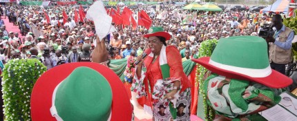 FIRST LADY, DAME PATIENCE JONATHAN AT THE PDP WOMEN RALLY IN IKOM ON WEDNESDAY.