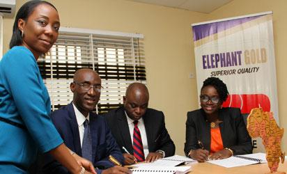 From the left: Yemisi Bejide, Head M&A, Standard CharteredBank; Akin Ogunbiyi, ED Elephant Group; Tunji Owoeye, MD Elephant Group; Abiola Ojo-Osagie, MD, Afri invest Capital Partners Nigeria Ltd during the signing of agreement in Lagos.