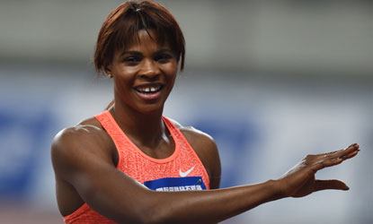 Blessing Okagbare-Ighoteguonor reacts after winning the women's 100m event at the Diamond League athletics meeting in Shanghai on May 17, 2015. AFP