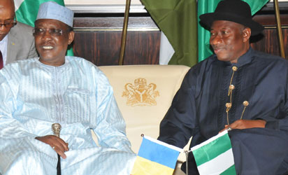 VISIT: President Goodluck Jonathan (right) and Presisdent Idris Deby of Chad Republic during the Chadian leader's one-day visit to President Jonathan at the State House, Abuja, Monday. Photo: Abayomi Adeshida.