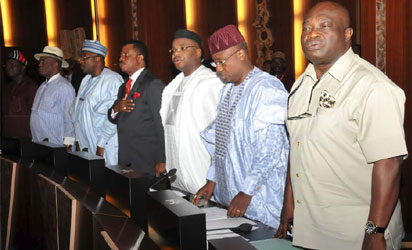 CROSS SECTION GOVERNORS AT THE INAUGURATION OF INAUGURATION OF NATIONAL ECONOMIC COUNCIL AT THE PRESIDENTIAL VILLA ABUJA ON MONDAY