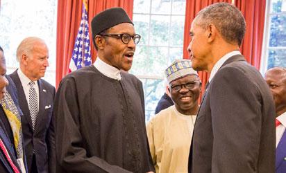 President Muhammadu Buhari and President of US Barack Obama during a meeting