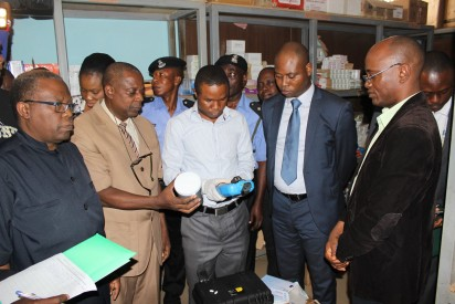 L-R : Members of Ondo State Task Force on Counterfeit and Fake Drugs: Dr. Taye Oni, Permanent Secretary State Ministry of Health - Pharm Wole Ojo, Ondo State Director of NAFDAC - Dr. Dayo Adeyanju, State Commissioner for Health - Dr. Koledoye, CMD State Specialist Hospital Akure, during the inspection tour on drug stores in Akure, Ondo State.