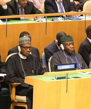 File photo: President Muhammadu Buhari and former Governor Kayode Fayemi at the 70th UN General Assembly in New York, USA