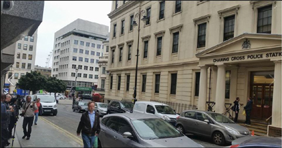 Charing Cross Police Station where fomer Minister of Petroleum Resources, Mrs. Diezani Alision-Madueke was expected to report on Monday, October 5, 2015.