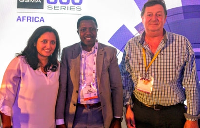 From left; Sonal Shah, Executive Director, Beek Centre for Social Impact and Innovation, Ayo Stuffman, Chief Executive Officer, Vas2Nets and  Algy Williams, Chief Executive Officer, Every Mobile Limited after a panel discussion on Power to innovate: Growing start-up ecosystem and cultivating entrepreneurship at the just concluded 2015  GSMA Mobile 360 Africa series held in Cape town, south Africa. Photo by Emeka Aginam.