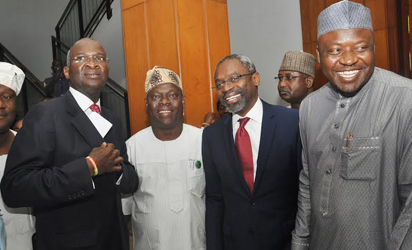 MINISTERIAL SCREENING—From left, Former Governor of Lagos State and ministerial nominee, Babatunde Fashola; Taofeek Adaranijo; Majority Leader, House of Reps, Femi Gbajabiamila; Ismaila Kawu, shortly after screening of Fashola in Abuja, yesterday. Photo: Gbemiga Olamikan.