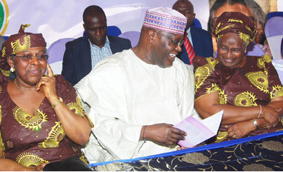At the presentation of the Book ,' In the Radiance of the sage; the Life and Time of HID Awolowo' in honour of Late Chief Dr Mrs HID Awolowo' at Ikenne on 18112015 Pix shows from left Amb Olatokunbo Awolowo-Dosumu , Alh Atiku Abubakar former Vice President Rev Dr Mrs Omotola Oyediran at the ceremony Photo Shola Oyelese