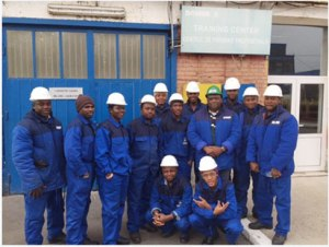 The Executive Director of C&I Leasing Plc, Mr. Andrew Otike-Odibi with the candidates of the ship building training at Romania.