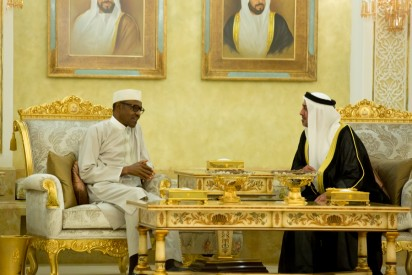 President Muhammadu Buhari in discussion with Sheikh Sultan Bin Zayed- 3rd Deputy Prime Minister of the United Arab Emirates.