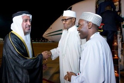 President Muhammadu Buhari being received by Sheikh Sultan Bin Zayed- 3rd Deputy Prime Minister of the United Arab Emirates (Left) and Ambassador of Nigeria to UAE, Amb. Ibrahim Auwalu at the Presidential Wing of the Abu Dhabi International Airport United Arab Emirates on Sunday, January 17, 2015