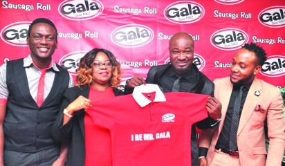 BRIEFING: General Manager, Marketing, UAC Foods Limited, Mrs. Joan Ihekwaba, 5-Star Music Group  Stars, Mr. Harrison Okiri (Harysong)  and Mr. Kingsley Okonkwo (KCEE) during media briefing for the unveiling of the new Gala Brand Ambassador at the UAC Foods Limited head office in Lagos.