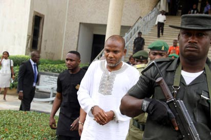 Detained leader of Indigenous People of Biafra, IPOB, Nnamdi Kanu in court, yesterday.