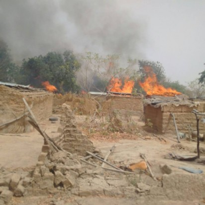 81 Battalion and 251 Task Force Battalion of 25 Task Force Brigade, 7 Division Nigerian Army, razing down the Boko Haram terrorists spiritual power base at the Alagarno forest, Borno State