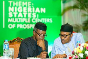 President Muhammadu Buhari and Vice President Yemi Osinbajo at the opening of a 2-day National Economic Council Retreat at the Statehouse Conference Centre on 21st March 2016.
