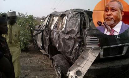 The state of Ocholi's car after the accident along Kaduna-Abuja road on Sunday. Inset: Ocholi