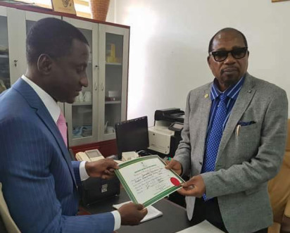 INEC National Commissioner in charge of the South East, Amb. Lawrence Nwuruku issuing Certificate of Return to Uchechukwu Ogah as Governor of Abia State, on Thursday, June 30, 2016