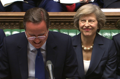 Britain's out-going Prime Minister David Cameron and incoming prime minister Theresa May