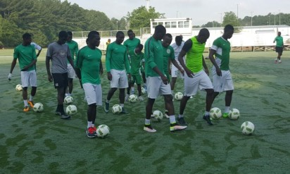 Nigeria's Rio Olympic team training at the soccer training ground of the Georgia State University in USA.