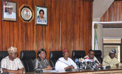 Minister of Information and Culture, Alhaji Lai Mohammed, flanked by the Permanent Secretary in the Ministry, Mrs Ayo Adesugba, Special Assistants Segun Adeyemi and Williams Adeleye and Director in the Ministry Peter Dama, at a press conference addressed by the Minister in Abuja on Friday