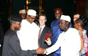 Facebook创始人Mark Zuckerberg于2016年9月2日星期五访问Aso Villa的总统Muhammadu Buhari。