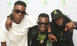 From left to right - Lugi (Utibe Mac'kenzie Ndah), Shafer Records artiste; Isaiah Oyibo, CEO Shafer Records; and Eluku (Lukmon Temitayo Lameed) Shafer Records Artiste.