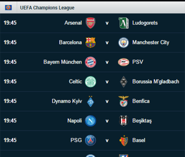 Uefa Champions League Fixtures For Today Uefa19