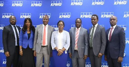 L-R:  Ladi Asuni – Senior Manager, Technology Advisory;  Boye Ademola – Partner & Head, Financial Services Technology; Ayo Othihiwa– Partner & Head, Financial Services Sector; Bisi Lamikanra – Partner & Head, Advisory Services; Olumide Olayinka – Partner & Head, Risk Consulting; Nike Oyewolu – Head, Sales and Markets; Odalo Aimufia - Senior Manager, Technology Advisory all KPMG at the Press Conference on the upcoming KPMG FinTech Summit held in Lagos