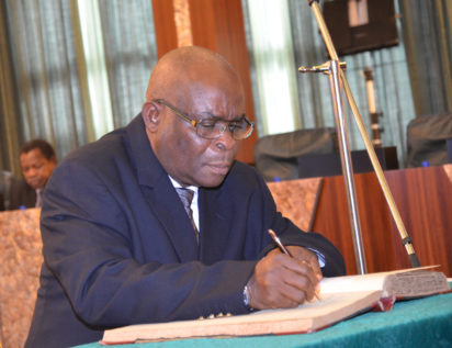Chief Justice of the Federation, Justice Walter Onnoghen taking the oath of office before the President  at the State House, Abuja. Photo by Abayomi ADESHIDA 10/11/2016