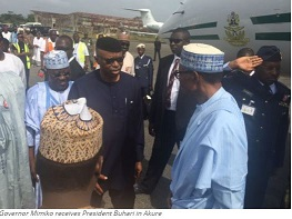 Governor Mimiko receives President Buhari in Akure