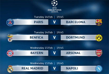 uefa champions league week 1 round of 16 fixtures vanguard news uefa champions league week 1 round of