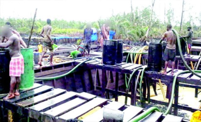 One of the illegal oil refining sites