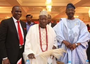L-R: Chief Moses Alake Adeyemo, Deputy Governor of Oyo State; Sen. Ademola Adeleke, Senator representing Osun West, Osun State and Segun Ogunsanya, MD & CEO, Airtel Nigeria at the launch of Airtel 4G in Ibadan on Tuesday, 13th February, 2018.