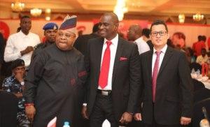 L-R: Senator Ademola Adeleke, Deputy Chairman, Senate Committee on Communications; Segun Ogunsanya, MD & CEO, Airtel Nigeria and Danny Zhang, CEO of ZTE Nigeria Limited at the launch of Airtel 4G in Ibadan.