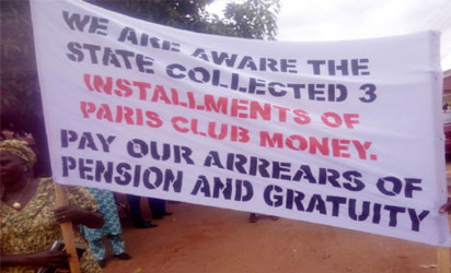 A cross section Nasarawa  State Pensioners protesting unpaid benefits