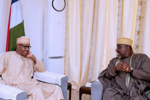 Buhari, Okorocha meet in Aso Rock