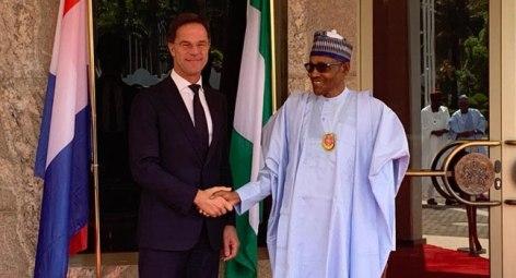 Nigeria's President, Buhari and Netherlands PM