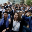 Pensioners and students gather for Hong Kong protest